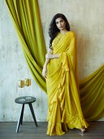 Soft Gold Ruffled Saree